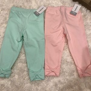 2 pairs of carter leggings with bows